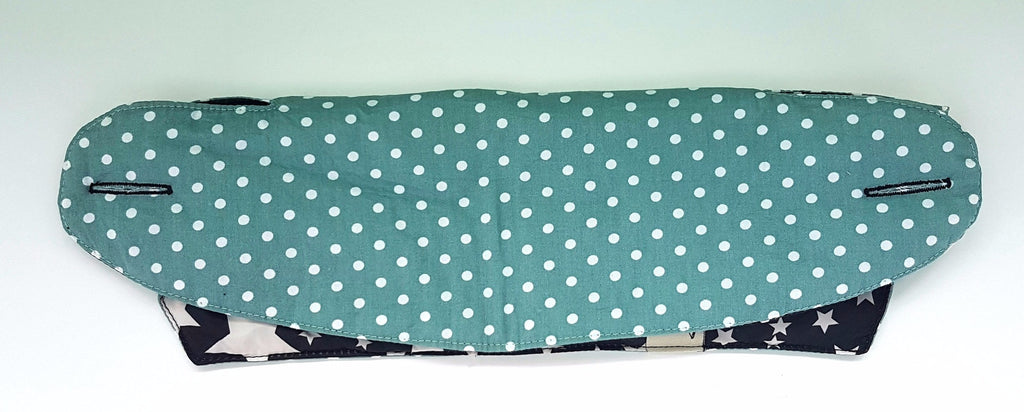 RTS - Ergobaby 360 Bib Cover White Stars and Green Polka Dots in reverse - Little One Layette