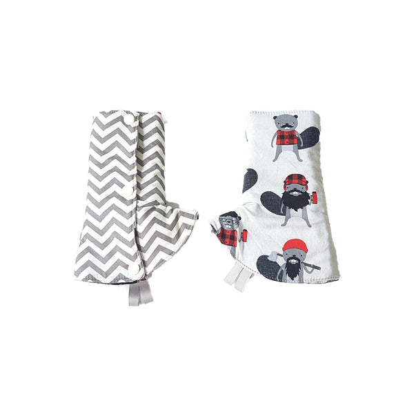 Burly Beaver with Grey Chevron in Reverse Curved Drool Pads - Little One Layette