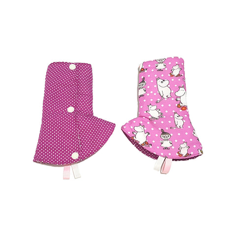 Moomin Friends with Purple Polka Dots in Reverse Curved Drool Pads - Little One Layette