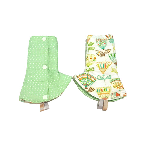 Hudson with Green Polka Dots in Reverse Curved Drool Pads - Little One Layette