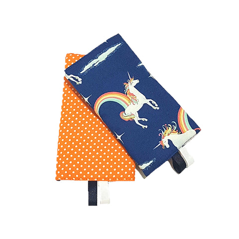 Unicorn Navy with Orange Polka Dots in Reverse Straight Drool Pads - Little One Layette