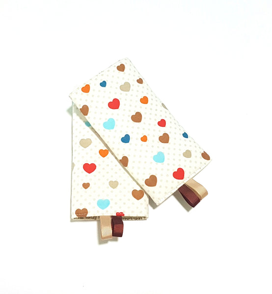 Rainbow Hearts with Dad Mum Loves me in Reverse Straight Drool Pads - Little One Layette