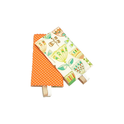 Hudson with Orange Polka Dots in Reverse Straight Drool Pads - Little One Layette