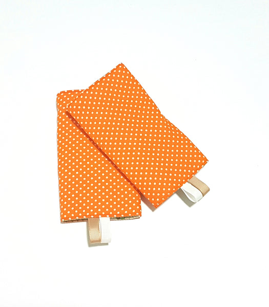 Fan Feathers with Orange Polka Dots in Reverse Straight Drool Pads - Little One Layette
