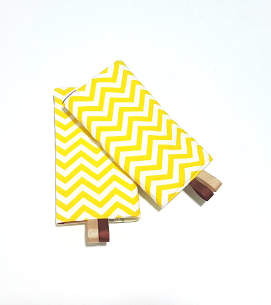 Duffy Bear with Yellow Chevron in Reverse Straight Drool Pads - Little One Layette