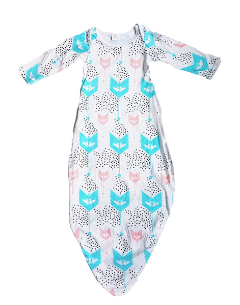 Twinkle Stars Layette Knot Sleep Gown & Beanie set - Little One Layette