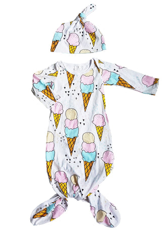 Ice-cream cone Layette Knot Sleep Gown & Beanie set - Little One Layette