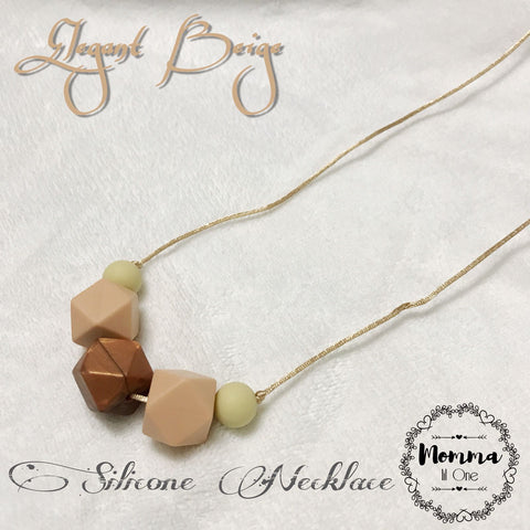 Elegant Beige Silicone Necklace - Little One Layette