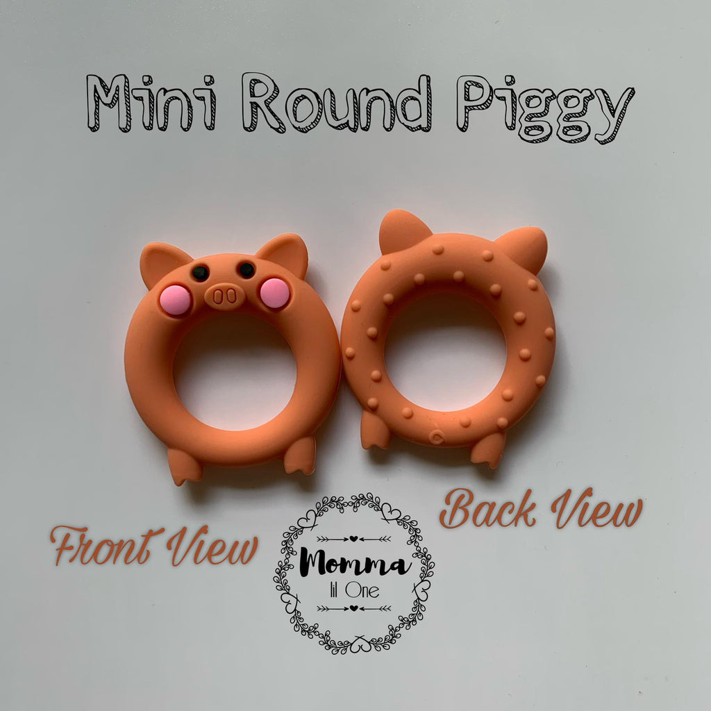Mini Round Piggy Silicone Teether - Little One Layette