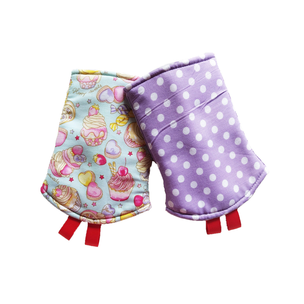 Sweet treats with Purple Polka Dots in Reverse Straight Drool Pads - Little One Layette