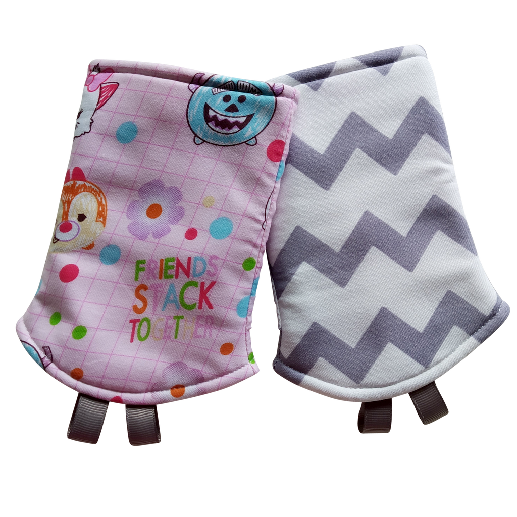 Doodle Tsum Tsum with Grey Chevron in Reverse Straight Drool Pads - Little One Layette