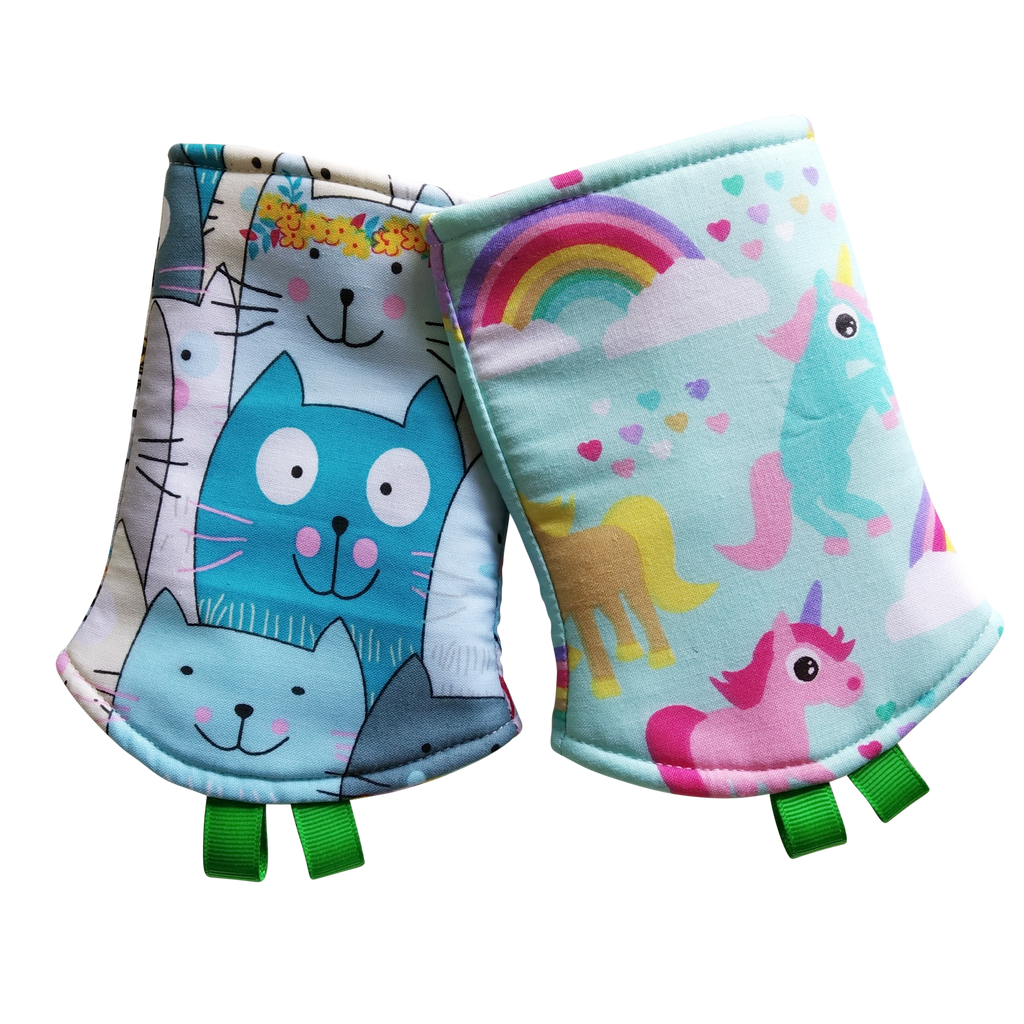 Large Cats with Unicorn Blue in Reverse Straight Drool Pads - Little One Layette
