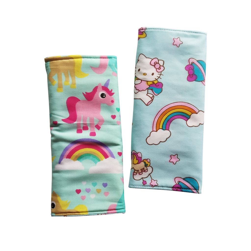 Unicorn with Hello Kitty Rainbow in reverse Seat Belt Pads - Little One Layette