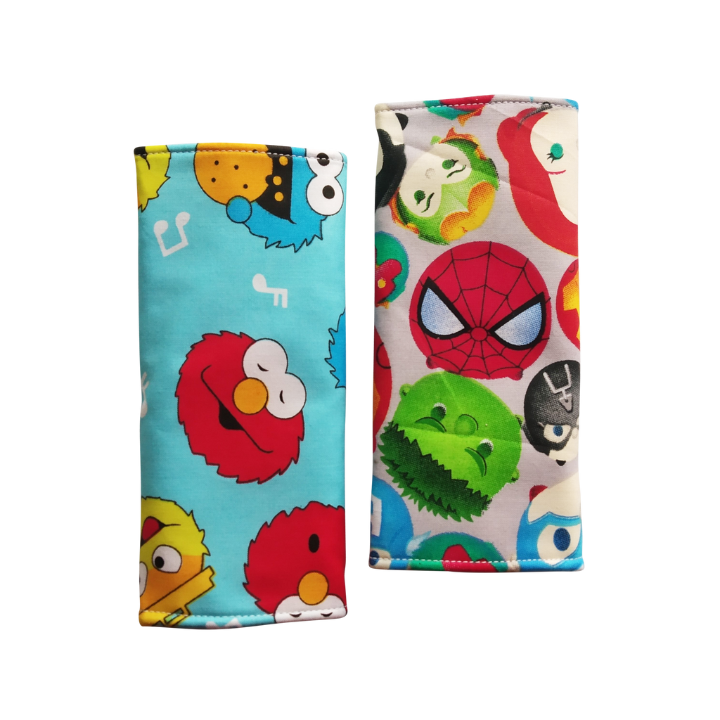 Sesame Street with Tsum Tsum Heroes in reverse Seat Belt Pads - Little One Layette