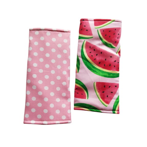Watermelon with Polka Dots in reverse Seat Belt Pads - Little One Layette