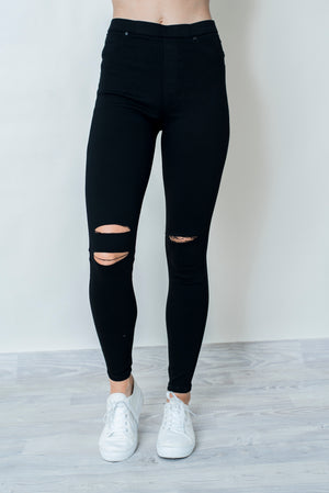 AVRIL RIP JEGGINGS - BLACK