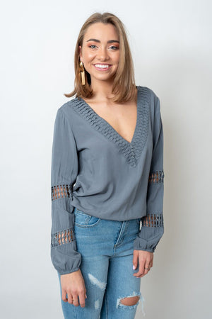LUCIA TOP - STEEL BLUE