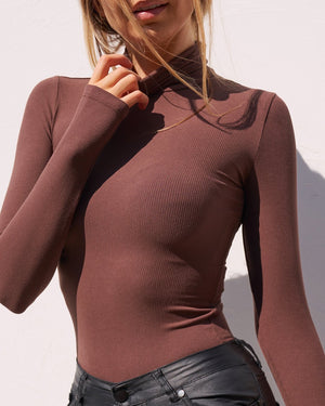 'BAYSE' TURTLE NECK BODYSUIT - DARK BROWN