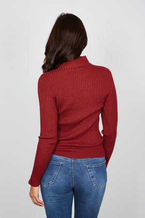 CASSIE BASIC KNIT TOP - RED