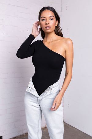'BAYSE' ONE ARM BODYSUIT - BLACK