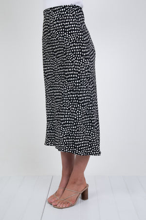 PALOMA SKIRT- BLACK DOT PRINT