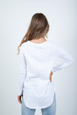 'BETTY BASICS' MEGAN LONG SLEEVE TOP - WHITE