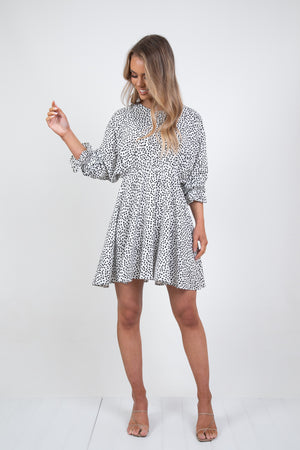 FELIPE DRESS - WHITE/BLACK