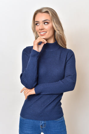 CASSIE BASIC KNIT TOP - NAVY