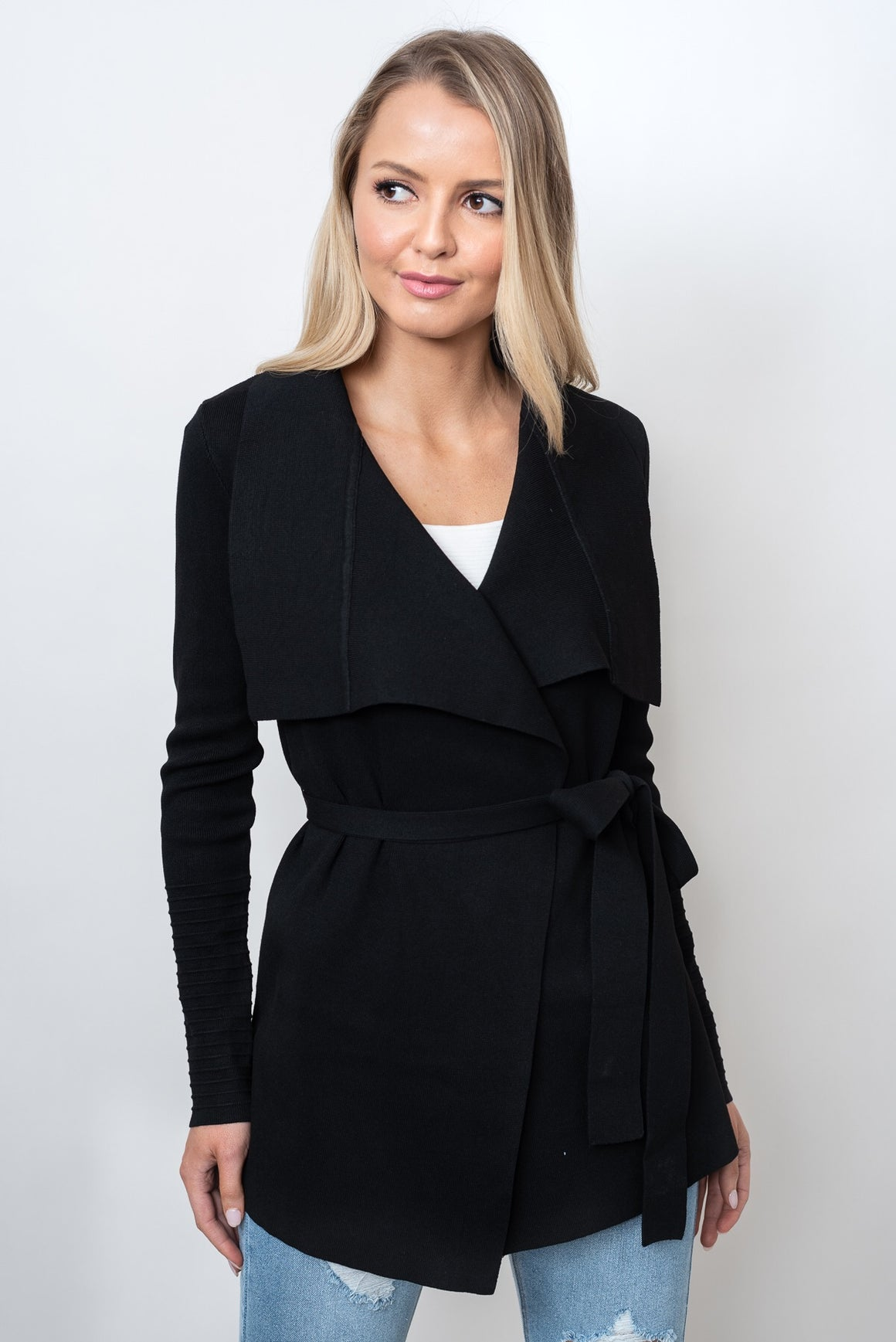 OLSEN RIBBED SLEEVE CARDI - BLACK