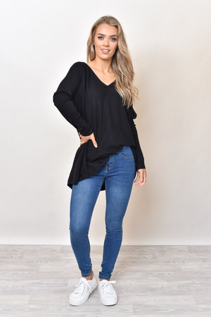 MOSES V NECK KNIT - BLACK