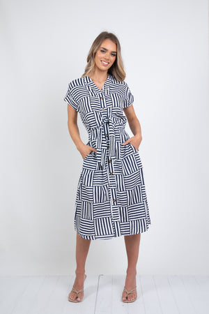 PETERSON DRESS - NAVY STRIPE