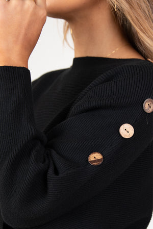 HARLOW BUTTON KNIT - BLACK