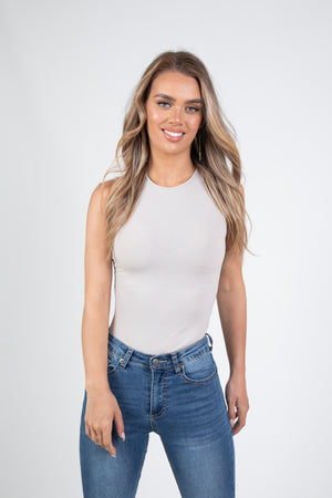 'BAYSE' SLEEVELESS CREW NECK BODYSUIT - BONE
