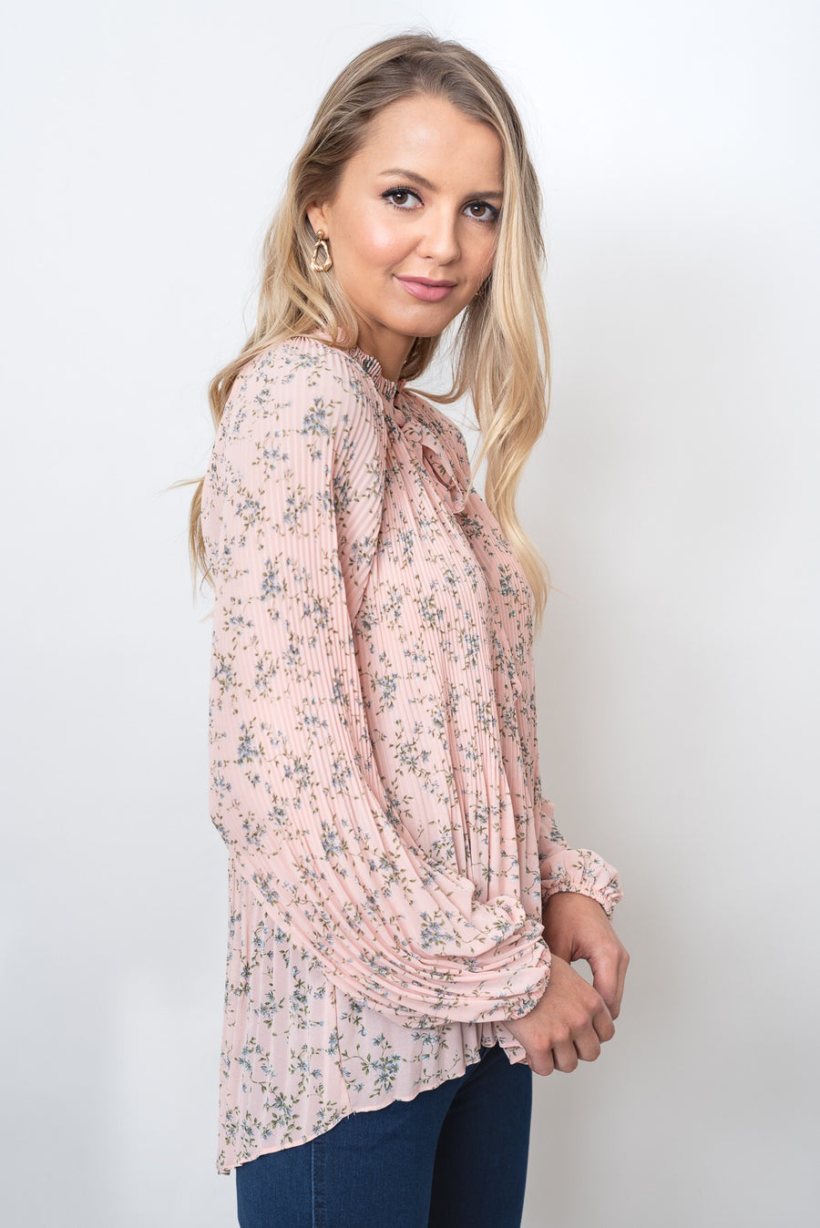 MADELINE PLEAT TOP - PINK FLORAL PRINT