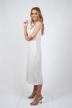 SUNDAY LINEN DRESS - SAND