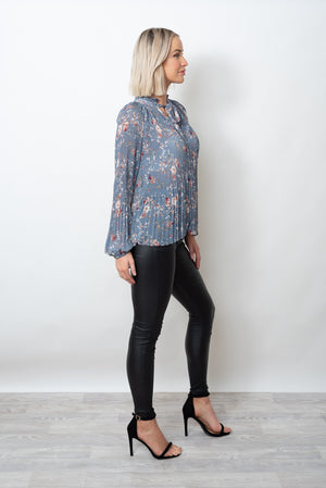 MADELINE PLEAT TOP - BLUE PRINT