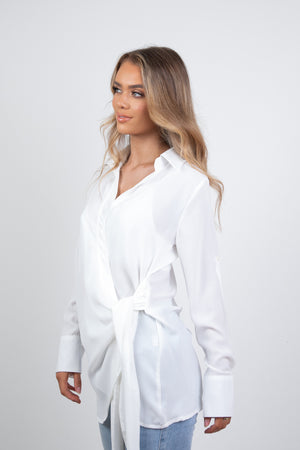 BELLA WRAP SHIRT - WHITE