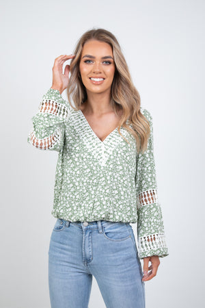 LUCIA TOP- GREEN FLORAL