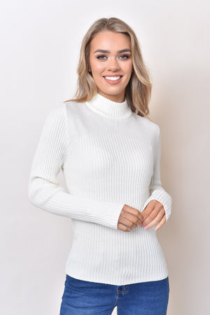 CASSIE BASIC KNIT TOP - WHITE