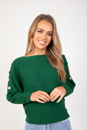 HARLOW BUTTON KNIT - GREEN