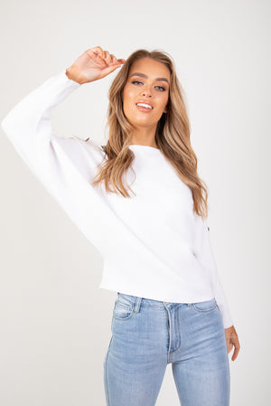 HARLOW BUTTON KNIT - WHITE