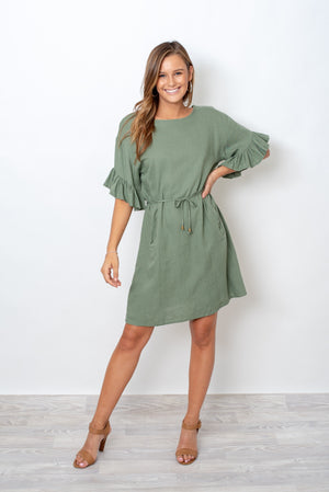 ASK ME LATER DRESS  - KHAKI