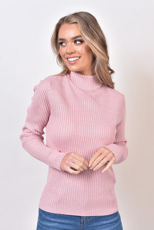 CASSIE BASIC KNIT TOP - DUSTY PINK