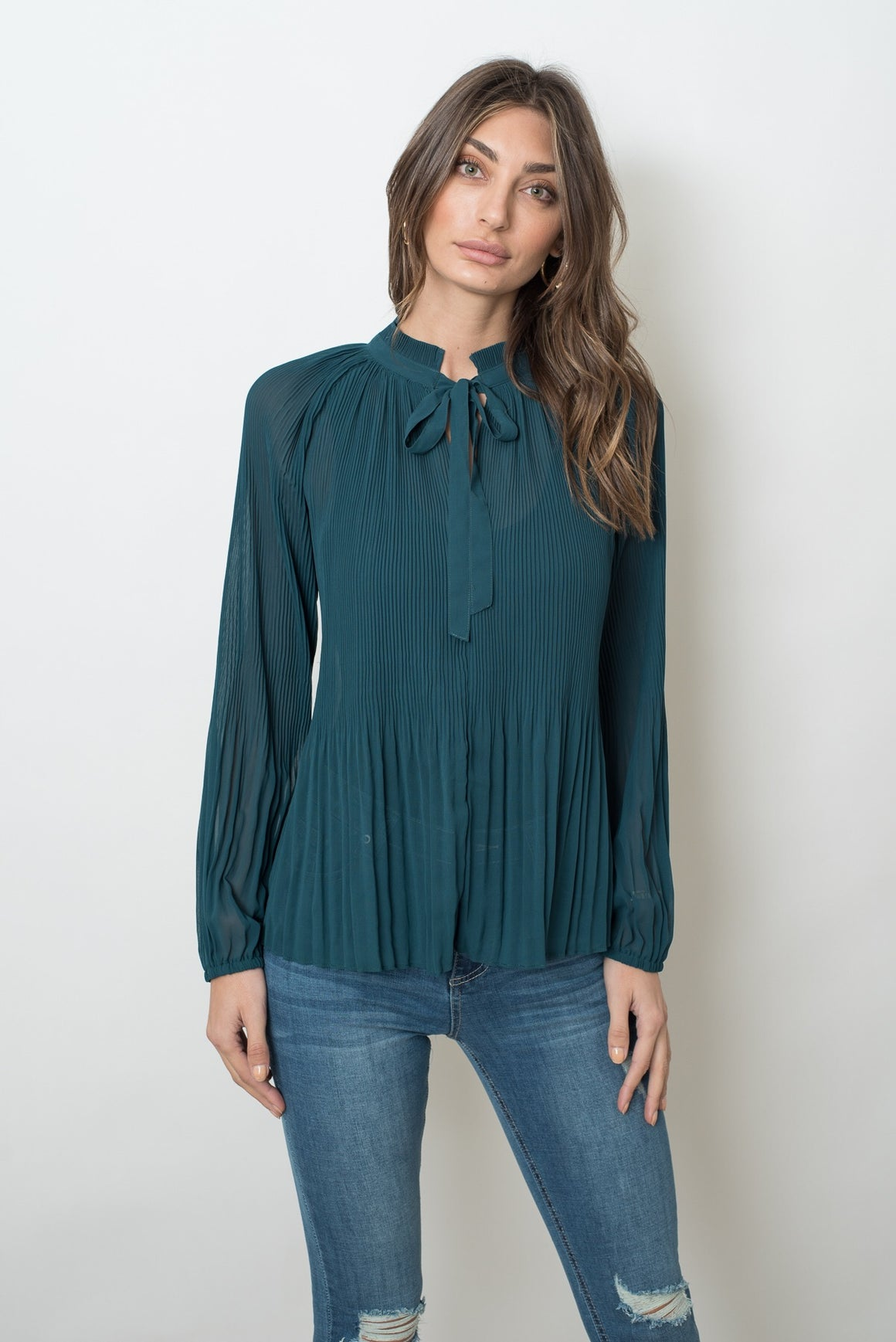 MADELINE PLEAT TOP - EMERALD GREEN