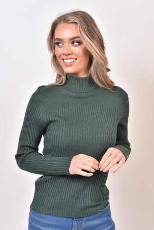 CASSIE BASIC KNIT TOP - DARK GREEN