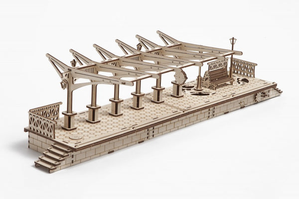 Railway Platform - build your own working model by UGears - UGears - 2