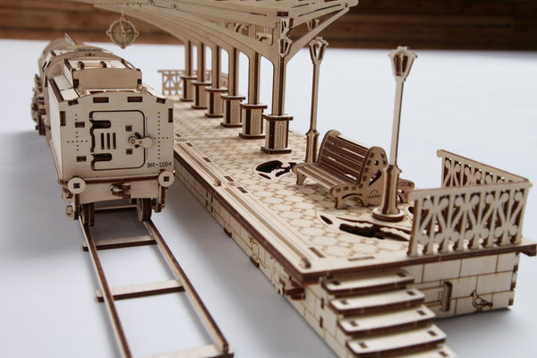 Railway Platform - build your own working model by UGears - UGears - 3