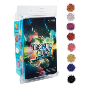 Treasure Chest Glitter Powder Kit containing 8 Glitters