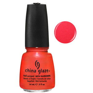 Surfin Boys China Glaze Coral Orange Neon Shimmer Nail Varnish