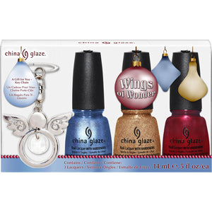 China Glaze Wings of Wonder 3 nail varnishes with free angel key chain